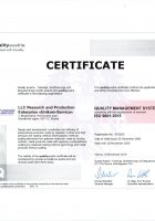 ISO-9001:2015 certificate issued by the Quality Austria